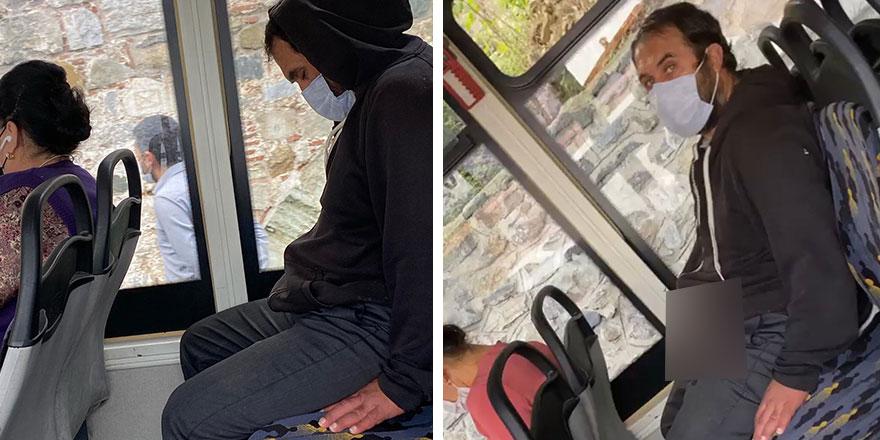 İETT otobüsünde yanındaki kadına bakarak mastürbasyon yapan sapık saniye saniye kaydedildi