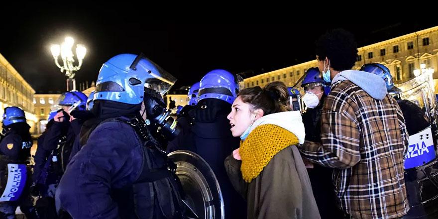 İtalya'da korona virüs tedbirleri protesto edildi