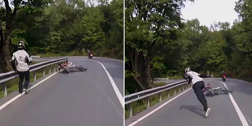 Şile'de motosiklet kazası kameraya yansıdı!