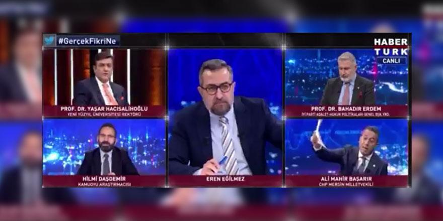 Habertürk canlı yayınında kavga çıktı... Ali Mahir Başarır, Yaşar Hacısalihoğlu ve Hilmi Daşdemir birbirine girdi