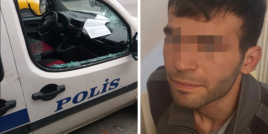 İzmir'de  Muhammed Sabri polis otolarına zarar verdi!