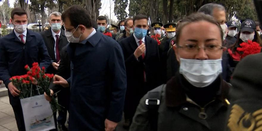 Şehitlik ziyaretinde bulunan Ekrem İmamoğlu ile Gazi yakını arasında gerilim