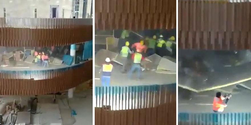 Atatürk Kültür Merkezi inşaatında korku dolu anlar saniye saniye görüntülendi