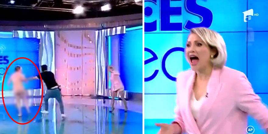 Romanya'da canlı yayında şok olay! Çıplak kadının saldırısına uğradı