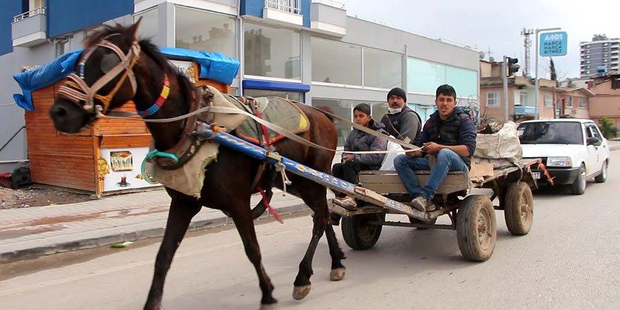Adana'da at arabasına otomobil bağlayıp çektiler!