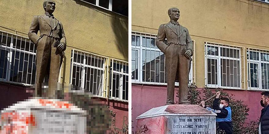 Biri bu alçaklığa dur diyecek mi? Atatürk heykeline çirkin saldırı