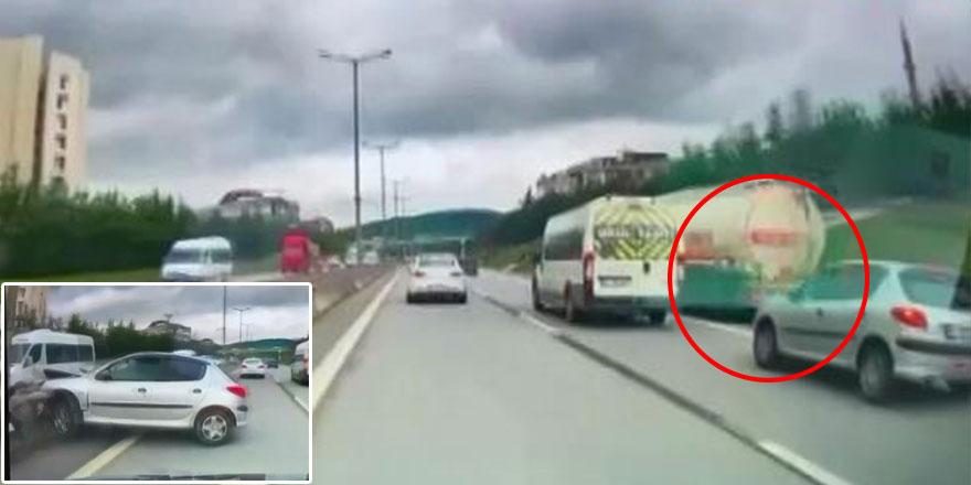 Otoyolda akılalmaz kaza! Tankeri sıyırdı geçti ama...