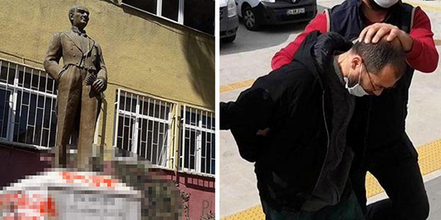 Tekirdağ'da Atatürk heykeline saldıran şüpheli adliyede