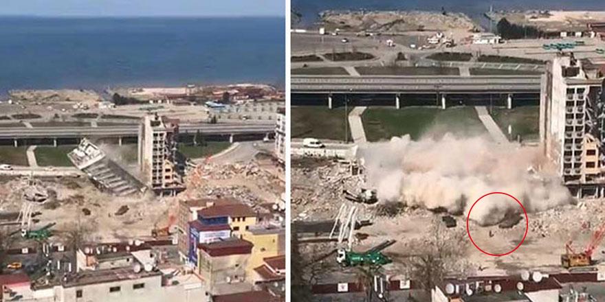 Rize'de korkunç görüntüler! Yıkılan binanın enkazı altında...