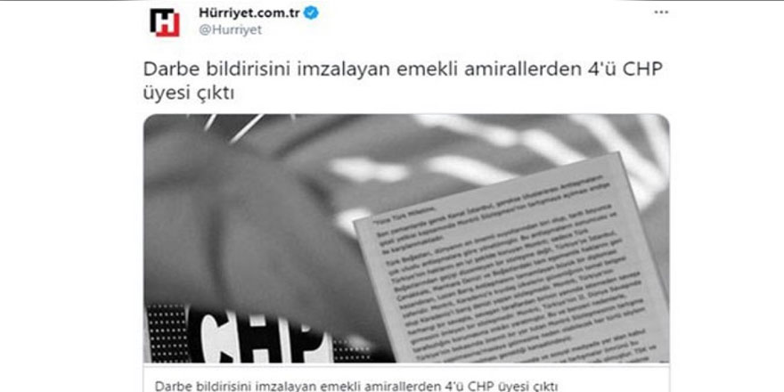 Emekli amirallerin ailelerini hedef gösteren Hürriyet'e CHP'den çok sert tepki
