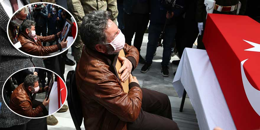 Evladının fotoğrafını öptü, kokladı, bağrına bastı... Şehit Burak Gençcelep'in babasının büyük acısı