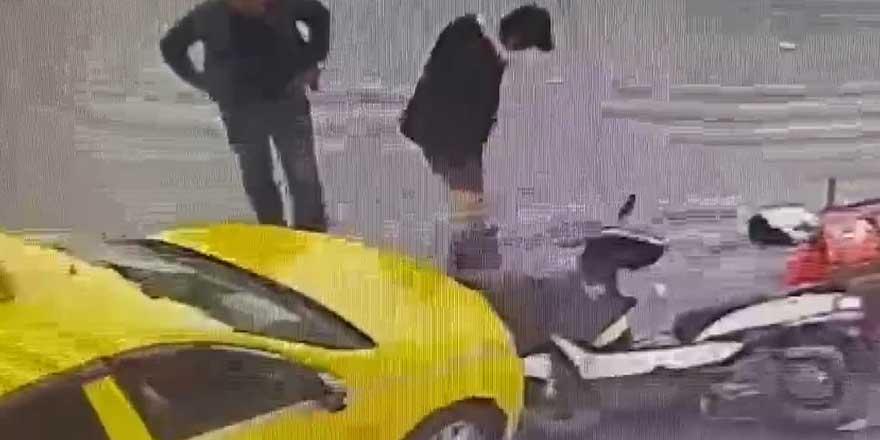 Şişli'de kaza yapan kuryenin cep telefonu çalındı!