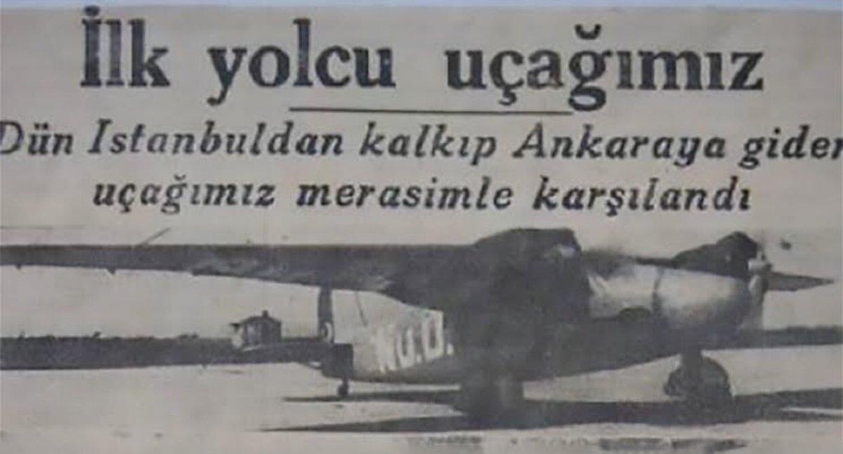77 yıl önce İstanbul'dan Ankara'ya uçan ilk Türk yolcu uçağı