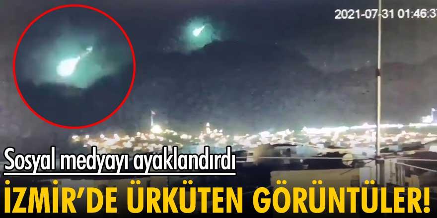 İzmir'e meteor mu düştü! Sosyal medyayı ayaklandıran görüntüler...