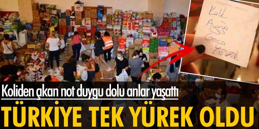 Türkiye Manavgat ile tek yürek oldu! Koliden çıkan not duygu dolu anlar yaşattı