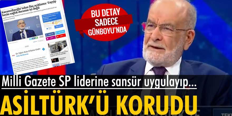 Milli Gazete Temel Karamollaoğlu'nun Asiltürk ile ilgili sorusuna yer vermedi