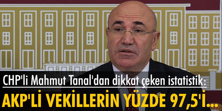 CHP'li Mahmut Tanal'dan dikkat çeken istatistik: AKP'li vekillerin yüzde 97,5'i...