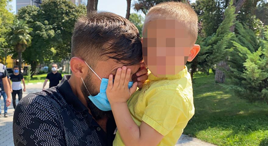 Hırsızlık şüphelisi, yüzünü kucağındaki çocuğuna kapattırmaya çalıştı