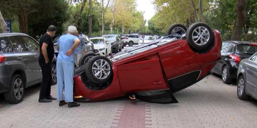 Bakırköy'de  Gülin Doğan isimli sürücü tümsekten geçerken kaza yaptı!