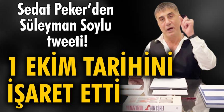 Sedat Peker'den Süleyman Soylu tweeti: 1 Ekim tarihini işaret etti