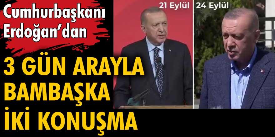 Erdoğan ABD'ye giderken başka orada ve geldiğinde başka konuştu