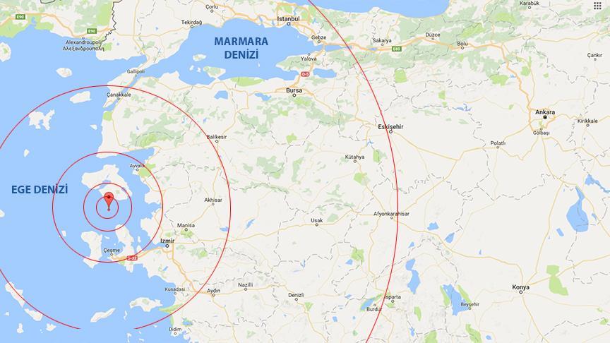 Ege Denizi'nde 6,2 büyüklüğünde deprem