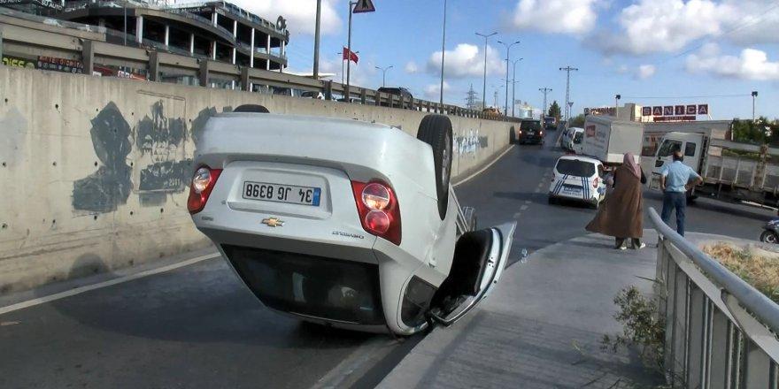 Takla atan araçtan burnu kanamadan çıktı!