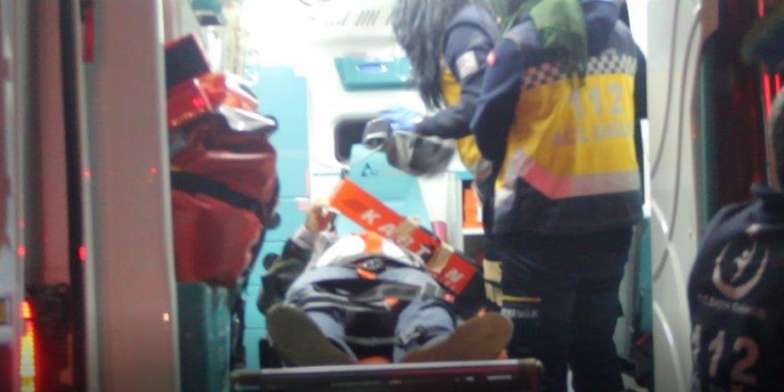 Tren yoluyla ihata duvarı arasına düşen kişiyi itfaiye kurtardı