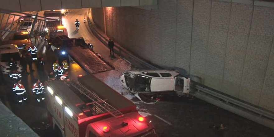 Otomobil 10 metrelik köprüden uçtu