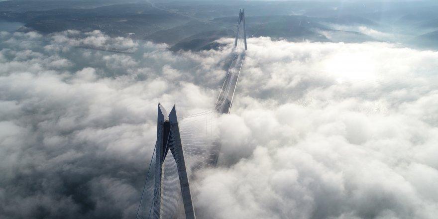 Sis altındaki Yavuz Sultan Selim Köprüsü havadan fotoğraflandı