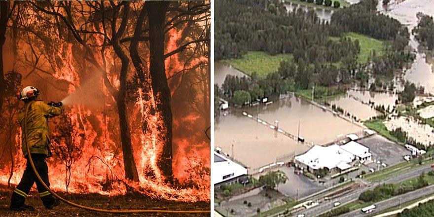 Avustralya'da bir tarafta yangın, diğer yanda sel!