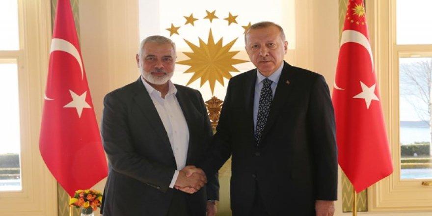 Cumhurbaşkanı ErdoğanHamas Lideri Heniyye'yi kabul ediyor