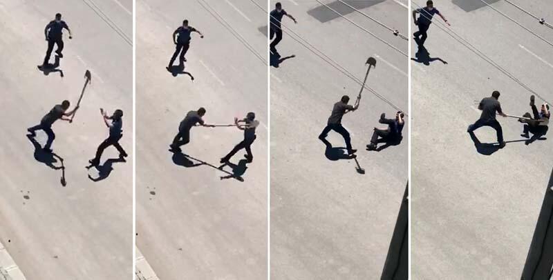 Afyon'da şok görüntüler! Polise kürekle saldırdı...