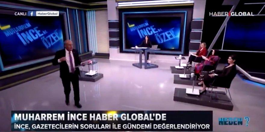 """Muharrem İnce """"Erdoğan'dan korkmuyorum"""" diyerek canlı yayın terk etti"""