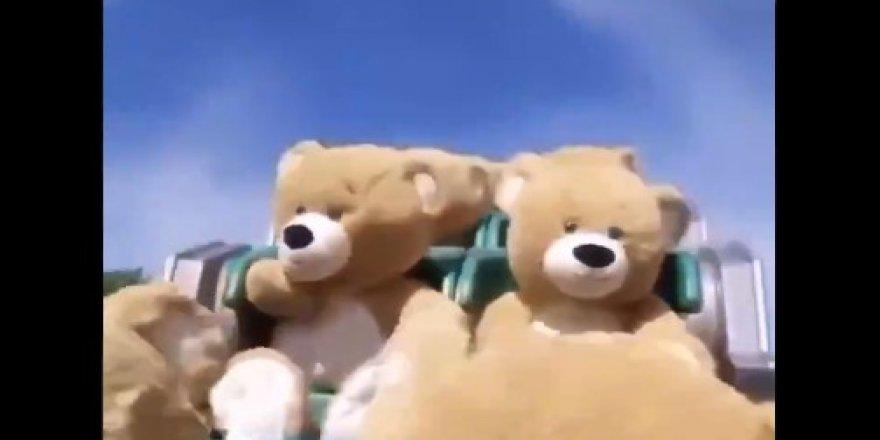 Korona virüs nedeniyle kapalı parka oyuncak ayılar yerleştirildi